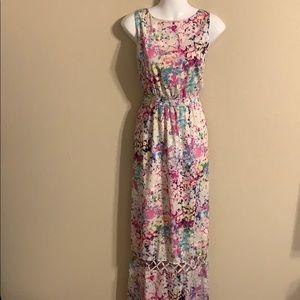 Gianni Bini watercolor maxi dress open back 10